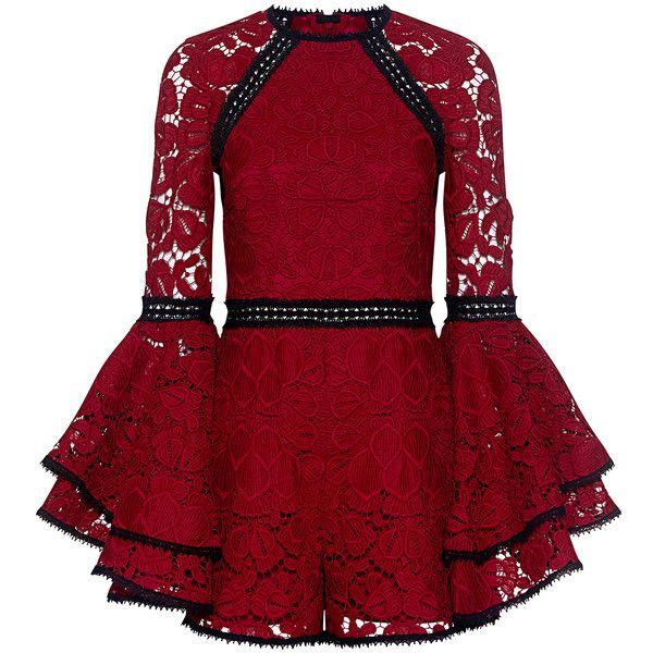 Alexis  - Briette Lace Ruffled Romper featuring polyvore, women's fashion, clothing, jumpsuits, rompers, dresses, red romper, ruffle rompers, long-sleeve romper, red lace romper and playsuit romper