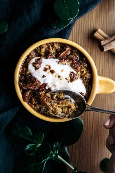 Spiced Carrot Baked Oatmeal with Maple Roasted Pecans | Gather & Feast