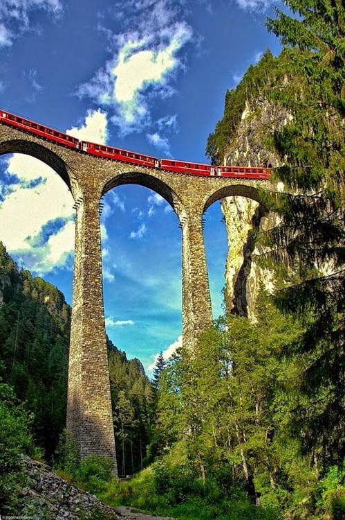 Landwasser Viaduct in Summer, Switzerland