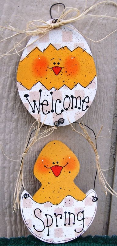 Easter Chick Wood Sign – Easter Decoration – Welcome Spring Sign – Wall or Door