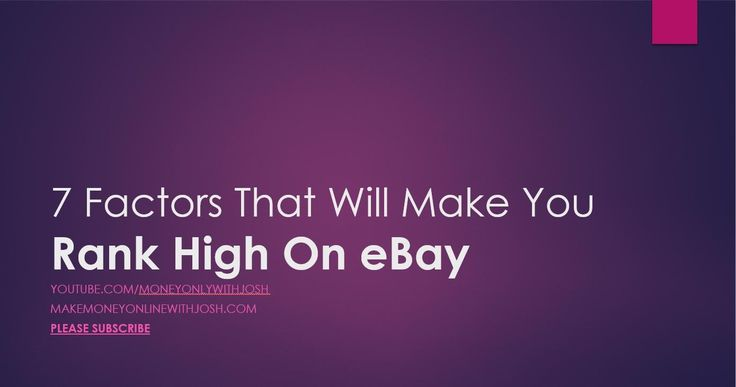 7 EBAY SEO FACTORS | RANK HIGH ON EBAY | EBAY SEARCH OPTIMIZATION - https://www.youtube.com/watch?v=NhRLC0Ka4ic