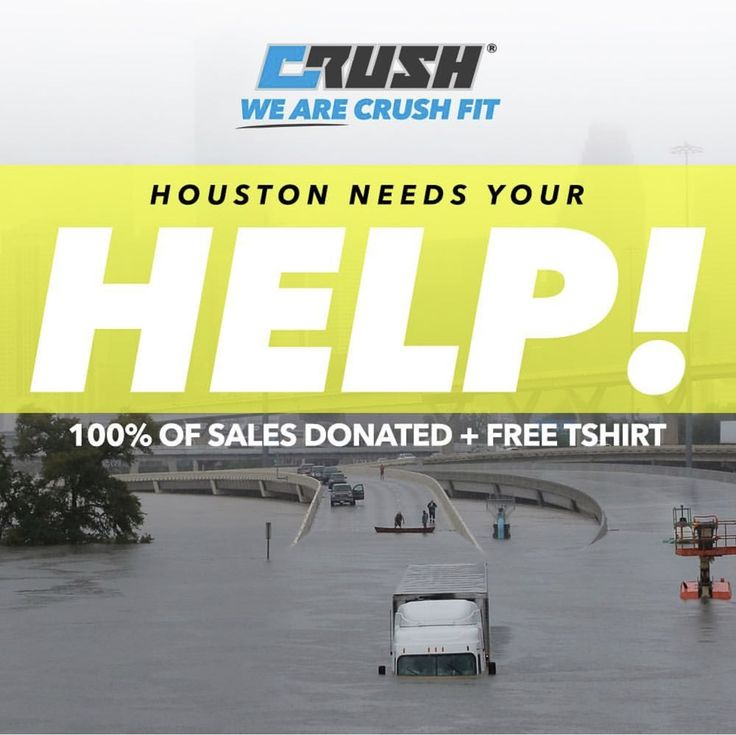 Looking for a valid source to make donations and help the victims of Hurricane Harvey? Crush Fit set up a page on their website to help raise money. 100% of the donations will go to the JJ Watt Foundation, where we're confident it'll go directly to the people in need. Please share or make any donation size you can 💙 https://crushfit.com/collections/Houston
