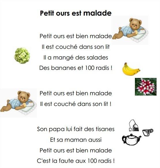 "comptine ""petit ours est malade"""