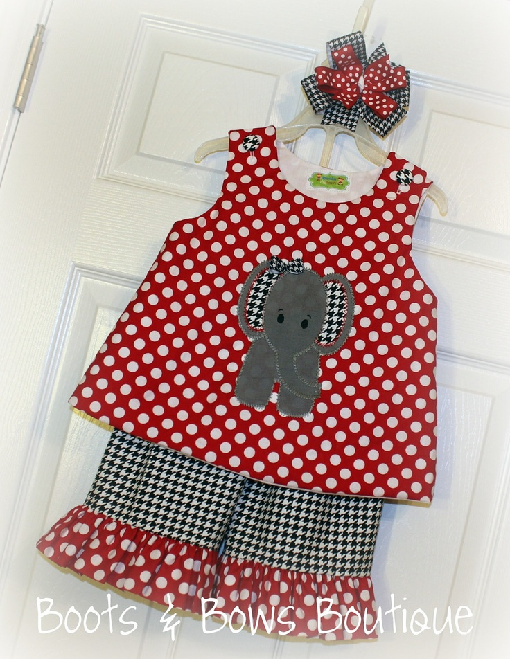 Custom Elephant Applique on Red n White Polka Dot Aline top and Ruffled Pants in Houndstooth with Red n White Polka dot Ruffles SEW cute