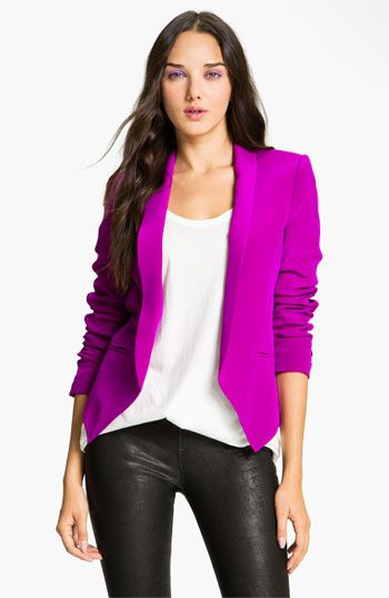 Bright blazer with a basic t and leather pants.