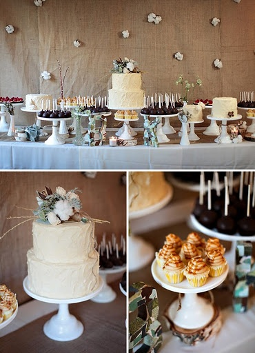 cake in the center with pies and other deserts along the table? I also like the cake topper