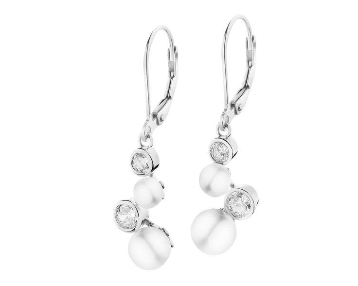 Kolczyki srebrne z perłami i cyrkoniami | Apart