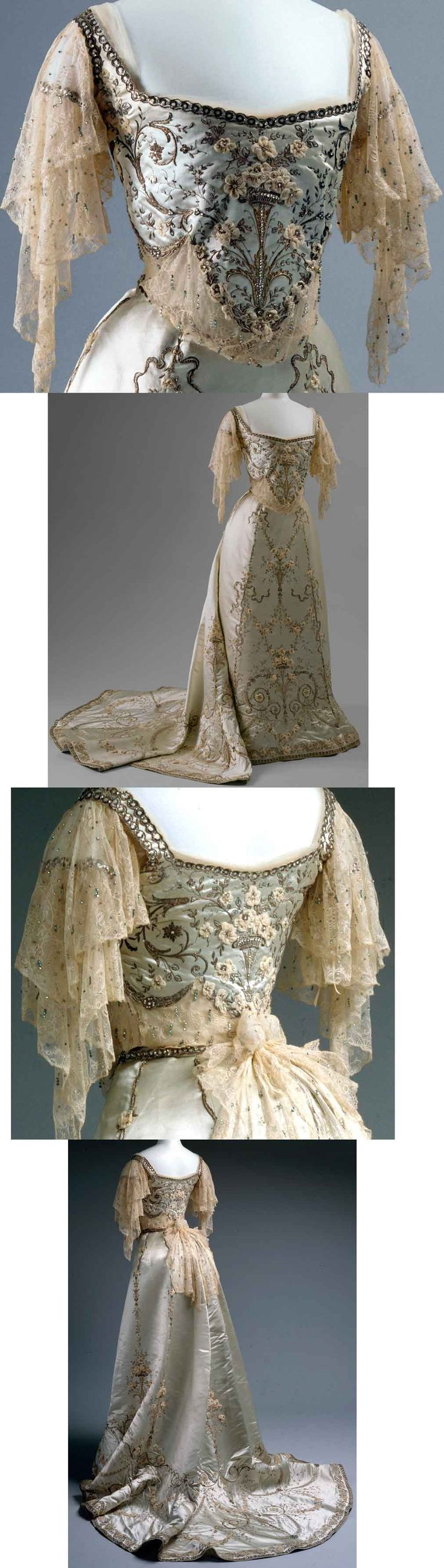 Worth ballgown, 1900-1905, silk and cotton with metallic thread, glass, and metal ornamentation.