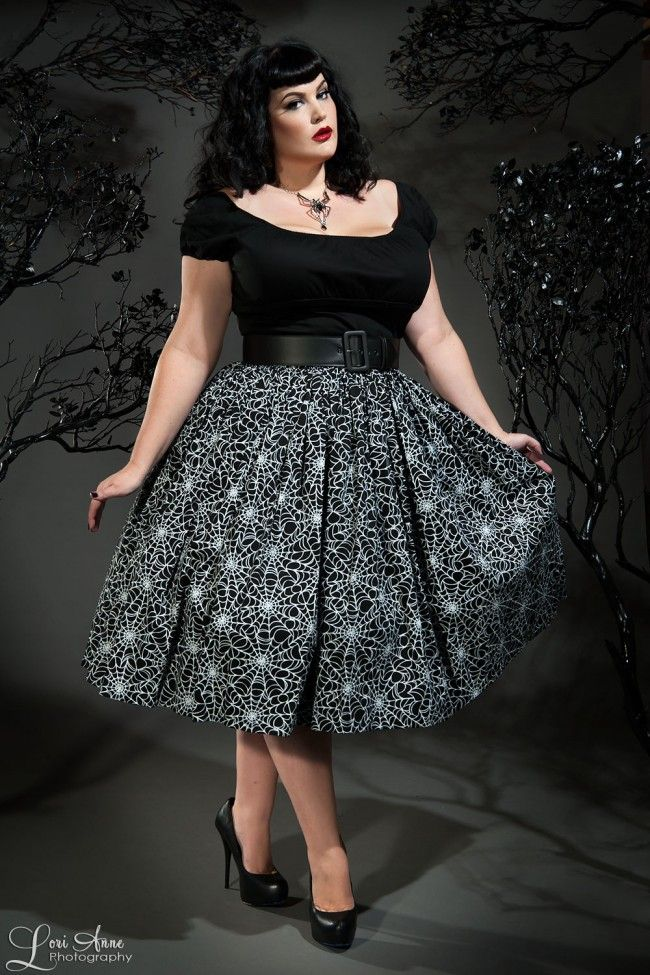 Vintage Goth Pinup Capsule Collection - Jenny Gathered Full Skirt in Spiderweb Print - Plus Size