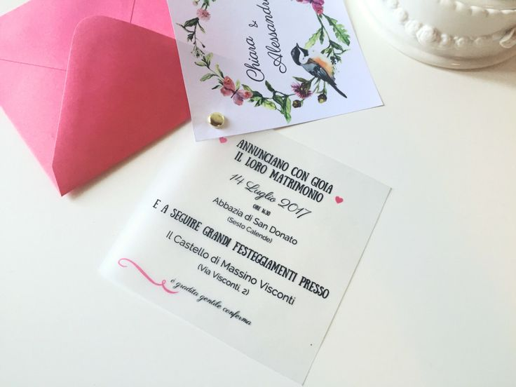 Invito a nozze  completo di busta e cordoncino di chiusura di ChiacchiereDiCarta…