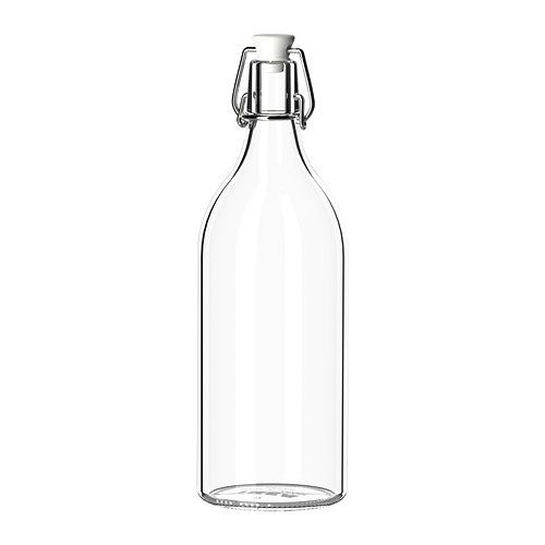 KORKEN, Bottle with stopper, clear glass, $4.-We could spray paint these and put a paper flower in it or a colored sun flower.