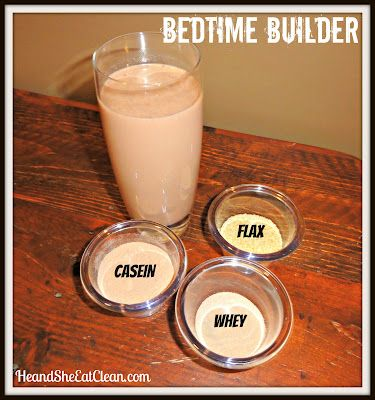 """""""Bedtime Builder"""" - Casein Shake for nighttime recovery, Def swapping my nesquick for one of these!"""