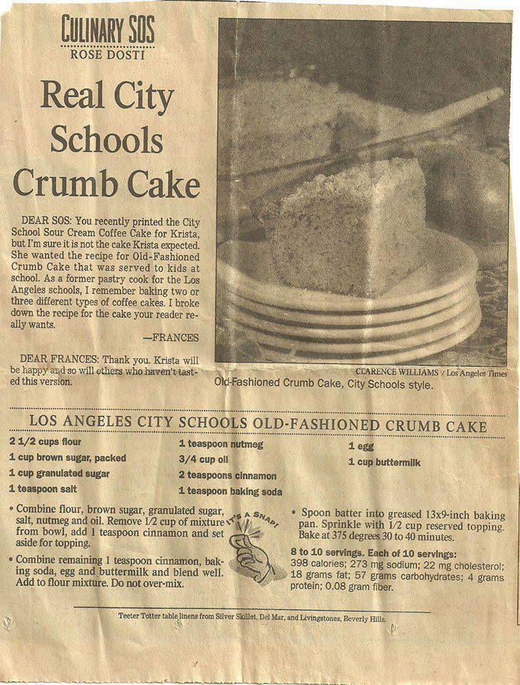 Crumb Cake recipe served in L.A. schools.