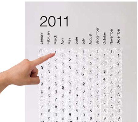 Bubble-wrap calendar.  Such a good idea.