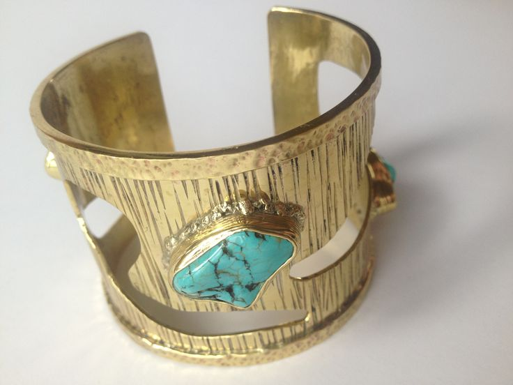 Turquoise and brass cuff. Hand made!
