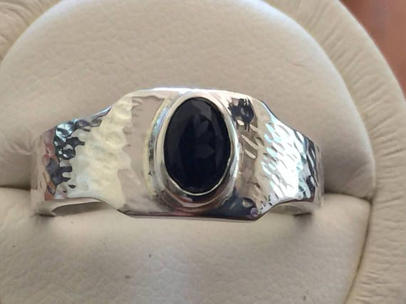 Silver and Black Spinel Ring