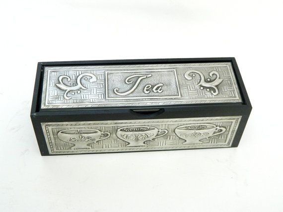 Tea caddy box pewter embossed cup scroll design matt by Loutul, £35.00