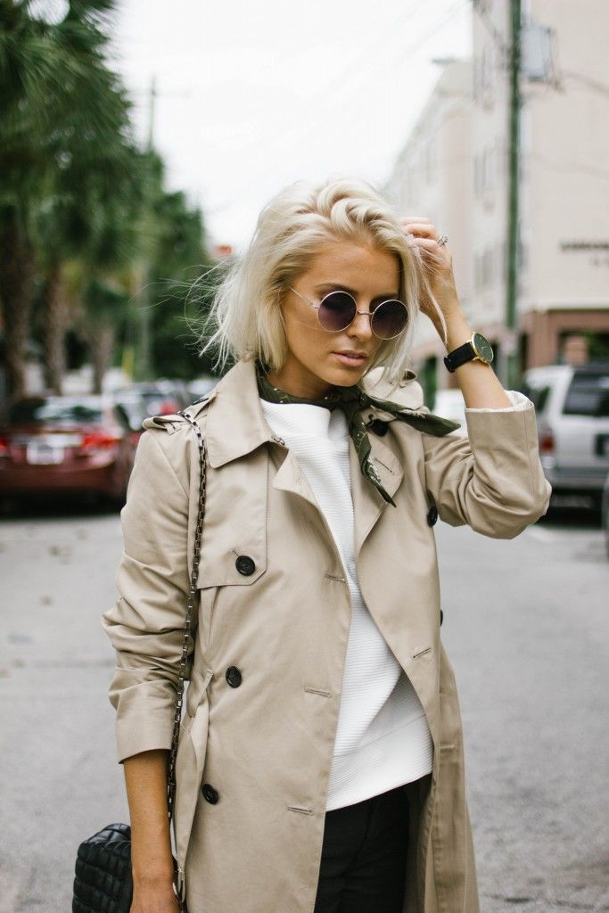 Bandanas and Trench Coats Fall 2015 Trends Messy Finger Swept Hair // Charleston Fashion Blogger Dannon, Like The Yogurt