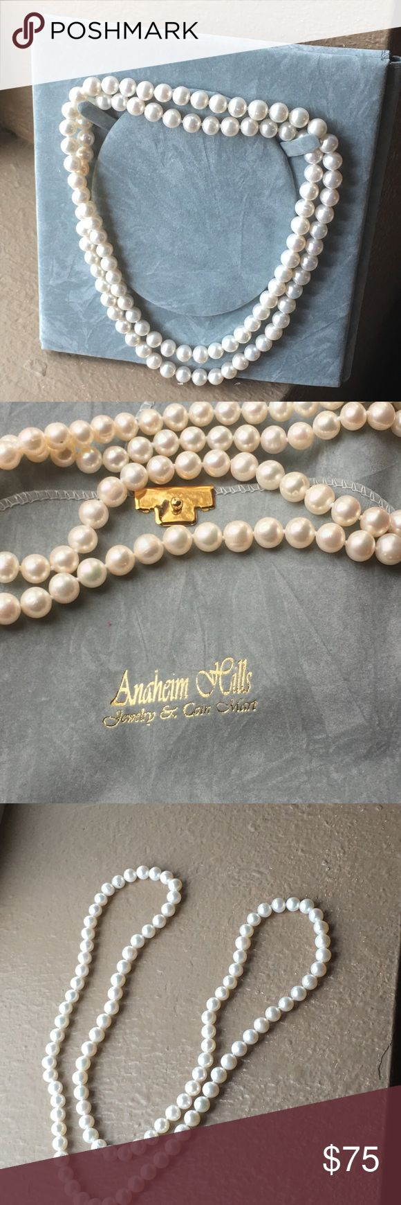 Pearls! These beautiful pearls hang 17 inches when put around your neck in a single strand. They can also be worn doubled for a choker look. The brand is Anaheim Hills. They are new and have never been worn out at all. I won them at an auction! Anaheim Hills Jewelry Necklaces