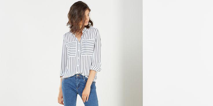 Sfera.com - Camisa estampada de manga larga con cuello camisero. Detalle de bolsillos delanteros. http://www.sfera.com/es/mujer/camisas-blusas-y-tops/camisas/camisa-estampada-66d57b3/12746/