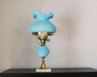 vintage FENTON blue satin poppy table lamp. robins egg blue lamp shade. vintage table lamp