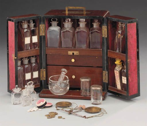 A 19th-century mahogany domestic medicine chest