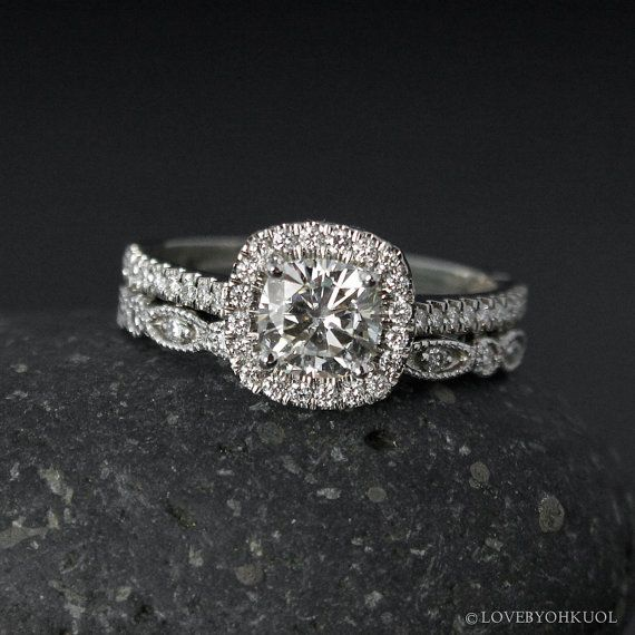Halo Cushion Cut Moissanite Engagement Ring by lovebyohkuol
