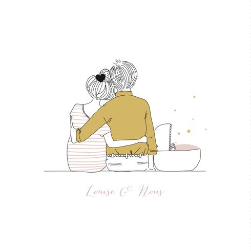 Faire-part de naissance Lovely family by My Lovely Thing pour FairepartNaissance.fr #rosemood #atelierrosemood #birth #announcement #card #couple #baby #bebe  #parents #famille