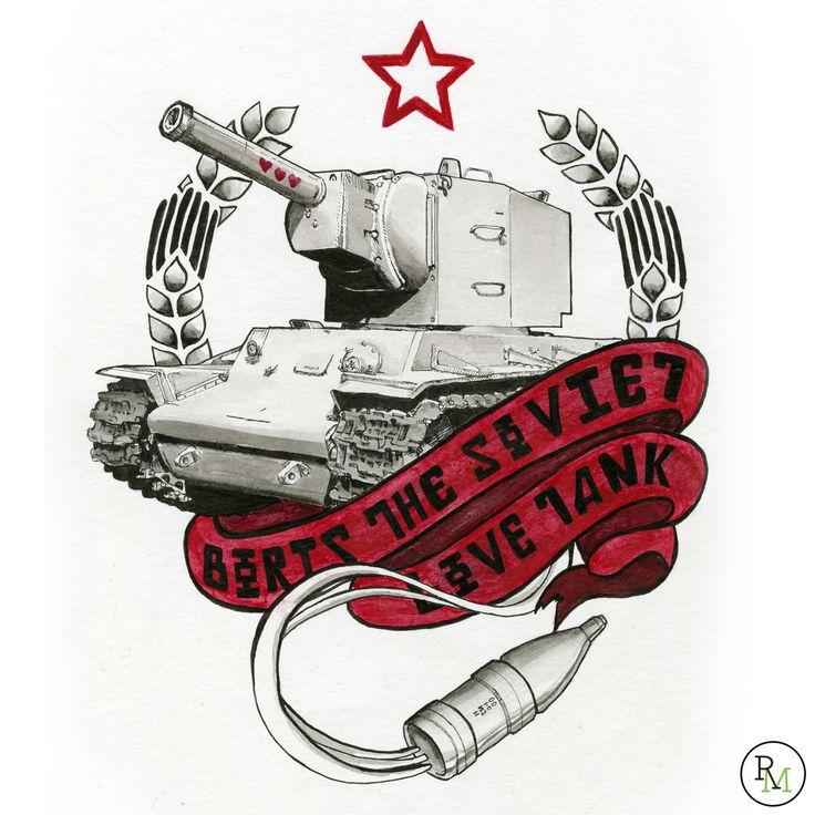 Tank tattoo flash design, kv2, world of tanks, wwii, russian tank, military tattoo, rebecca miller illustration