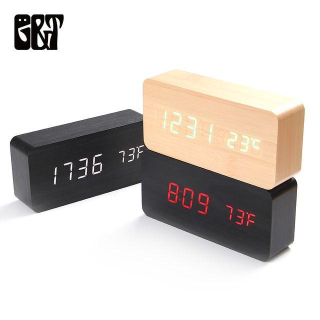 Wooden Led Alarm Clocks Morden Temperature Electronic Clock Sounds