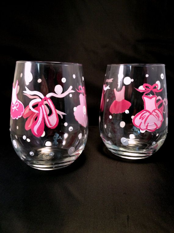 Hand Painted Dance Themed Wine Glasses Ballet by Brusheswithaview, $20.00