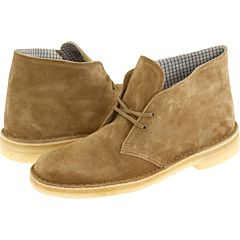 Clarks, suede.  The beeswax desert boots are sweet, but I like the suede a little better.