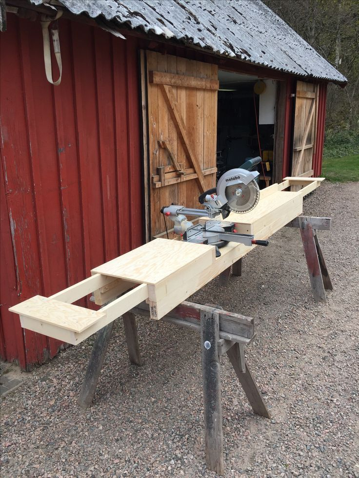 Homemade Miter Saw Stand with extension wings (3) – #extension #Homemade #Miter … #WoodWorking