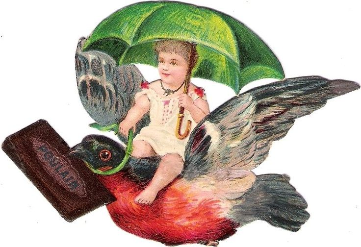 Oblaten Glanzbild scrap die cut chromo Kind child Baby bebe Vogel  bird Poulain
