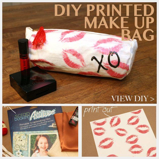 DIY Printed Make Up Bag Feature: Diy Prints, Diy Fashion, Bags Features, Bags Diy, Diy Bags, Prints Makeup, Make Up Bags, Diy Craft, Makeup Bags
