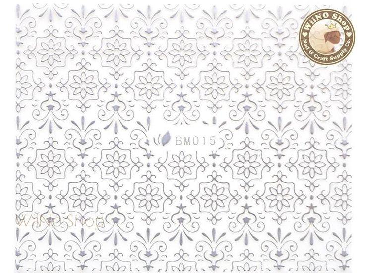 Silver Floral Pattern Adhesive Nail Sticker Nail Art – 1 pc (BM015S)