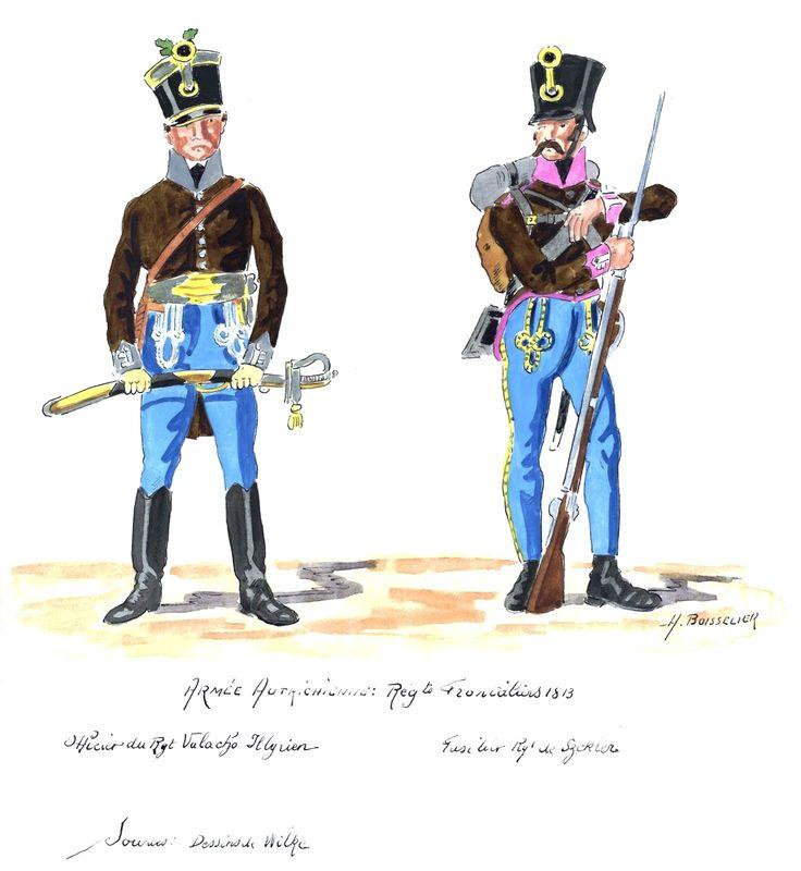 Austria; Valacho Illyrian Regt, Officer & Regt de Szekler, Fusilier, 1813
