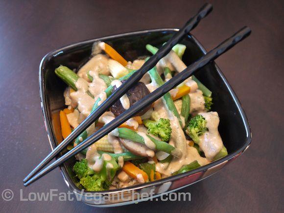 Low Fat Vegan Chef's Asian Vegetable Stir Fry Tahini Bowl