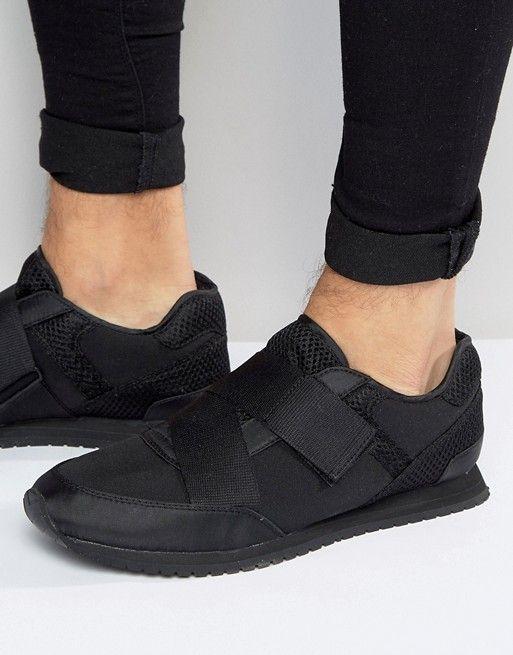 ASOS | Черные кроссовки с перекрестными резинками ASOS