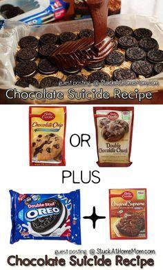 Chocolate Suicide Recipe [Chocolate Chip Cookie Brownie Mix with Oreos]   https://StuckAtHomeMom.com