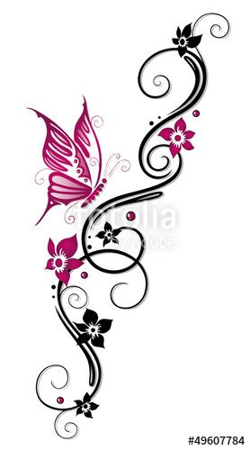 """Download the royalty-free vector """"Ranke, flora, Blüten, Schmetterlinge, schwarz, pink"""" designed by christine krahl at the lowest price on Fotolia.com. Browse our cheap image bank online to find the perfect stock vector for your marketing projects!"""