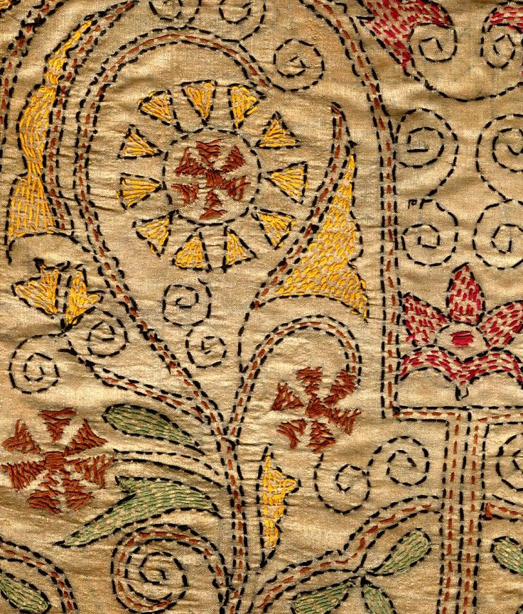 Kantha embroidery from Bengal, India. The stitches used in kantha are: running stitch, darning stitch, satin and loop stitch. Stem stitch is also used to outline the figures.