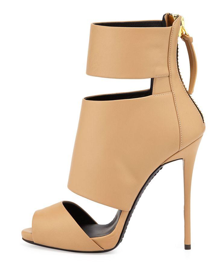Giuseppe Zanotti High-Heel Banded Peep-Toe Cage Bootie, Tan - Neiman Marcus    shoe FREAK ..   Pinterest   Giuseppe zanotti, High heel and Beautiful  high ...