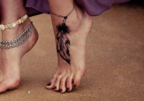 feather ankle bracelet tattoo. I could see myself with a dainty little ankle tattoo.n