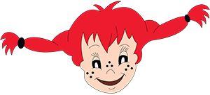 Pippi Langstrumpf - die Bastelvorlage umfasst nur den Kopf des kleinen frechen Mädchens. Aber wenn dieser lachend dann auf die Kinder des Kindergartens schaut, lachen die Kids auch und der Raum wirkt gleich viel freundlicher.