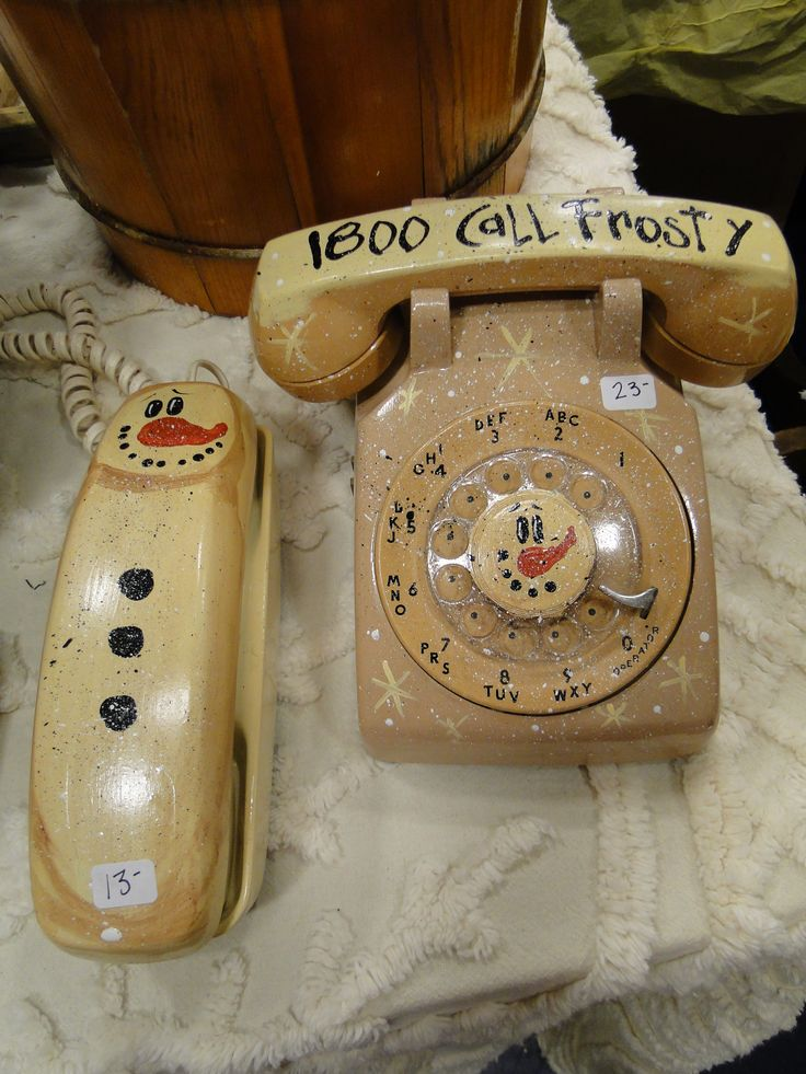 frosty phones---cute use for those phones that nobody uses anymore...buy them cheap at thrift stores!