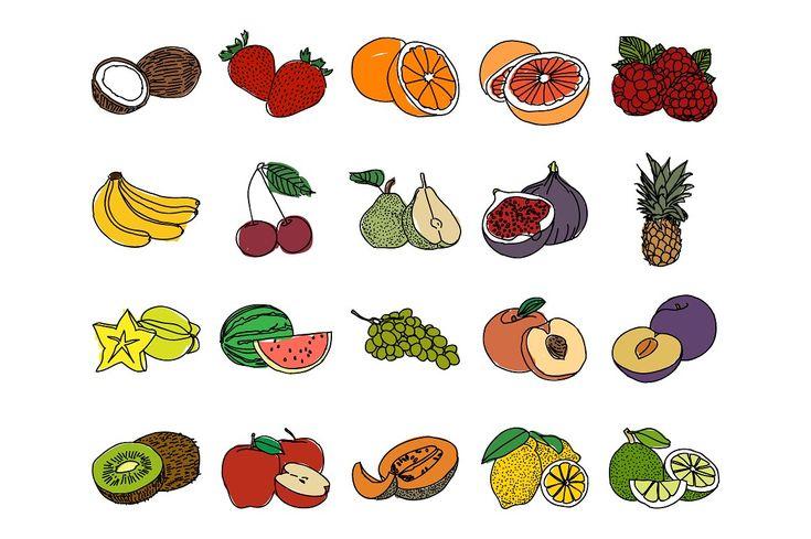 Картинки для срисовки фрукты и ягоды для детей