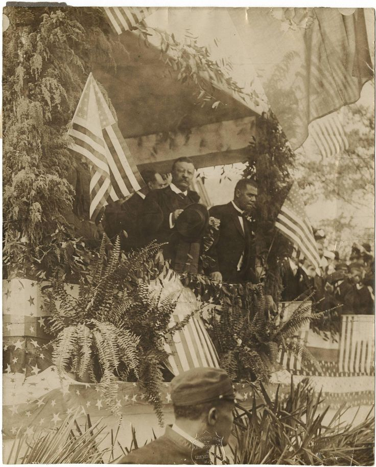 """President Theodore """"Teddy"""" Roosevelt and Booker T. Washington at the Tuskegee Institute, Alabama - 1905"""