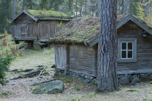 Old Finnish houses at Seurasaari outdoor museum...Helsinki