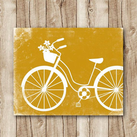 bicycle art download bicycle poster mustard by SunnyRainFactory